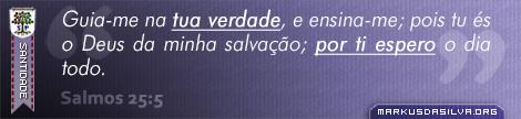 Santidade » Salmos 25:5 » Guia-me na tua verdade, e ensina-me; pois tu és o Deus da minha salvação; por ti espero o dia todo. | br.markusdasilva.org