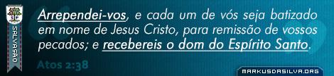 Salvação » Atos 2:38 » Arrependei-vos, e cada um de vós seja batizado em nome de Jesus Cristo, para remissão de vossos pecados; e recebereis o dom do Espírito Santo.   markusdasilva.org