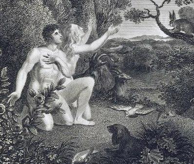 Gravura de Adão e Eva no Jardim do Éden. Artista desconhecido. Circa 1775-1850. Preto e Branco.
